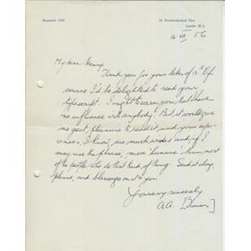 A.A. THOMSON 1956 CRICKET LETTER - TO HENRY GRIERSON