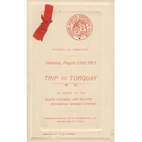 DEVON ALBION RUGBY CLUB 1913 TRIP TO TORQUAY - ITINERARY AND MENU CARD