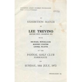 LEE TREVINO EXHIBITION MATCH (PANNAL GOLF CLUB) 1972 GOLF PROGRAMME