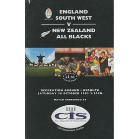 ENGLAND SOUTH WEST V NEW ZEALAND 1993 RUGBY PROGRAMME