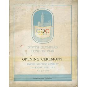 LONDON OLYMPICS 1948 OPENING CEREMONY PROGRAMME