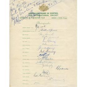 AUSTRALIA 1953 (TOUR OF ENGLAND) SIGNED CRICKET TEAMSHEET