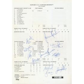 DURHAM V DURHAM UNIVERSITY 2001 CRICKET SCORECARD (FULLY SIGNED BY UNIVERSITY TEAM)