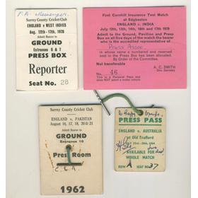 CRICKET PRESS PASSES (TEST MATCHES) 1962-79