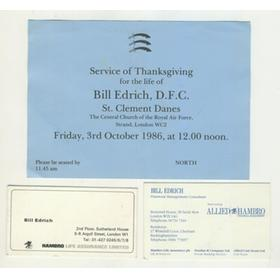 BILL EDRICH (MIDDLESEX & ENGLAND) BUSINESS CARDS AND TICKET TO SERVICE OF THANKSGIVING
