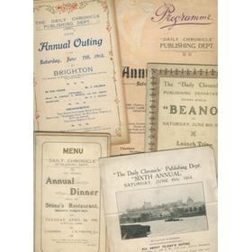 DAILY CHRONICLE (PUBLISHING DEPARTMENT) ANNUAL OUTINGS AND DINNERS 1910-1914 - ITINERARIES AND MENU CARDS