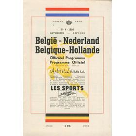 BELGIUM V HOLLAND 1956 FOOTBALL PROGRAMME