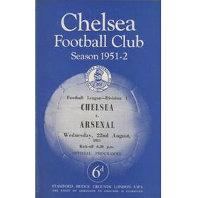 CHELSEA V ARSENAL 1951-52 FOOTBALL PROGRAMME