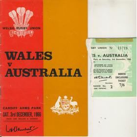 WALES V AUSTRALIA 1966 RUGBY PROGRAMME