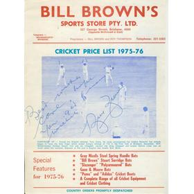 BILL BROWN (AUSTRALIA) 1975 SIGNED CRICKET EQUIPMENT CATALOGUE