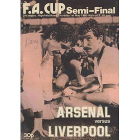 ARSENAL V LIVERPOOL 1980 (F.A. CUP SEMI-FINAL THIRD REPLAY) FOOTBALL PROGRAMME