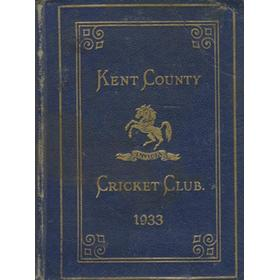 KENT COUNTY CRICKET CLUB 1933 [BLUE BOOK]