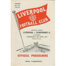 LIVERPOOL V SCUNTHORPE UNITED 1958-59 FOOTBALL PROGRAMME