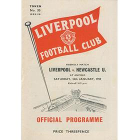 LIVERPOOL V NEWCASTLE UNITED 1958-59 FOOTBALL PROGRAMME