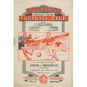 LIVERPOOL V MANCHESTER CITY 1955-56 FOOTBALL PROGRAMME