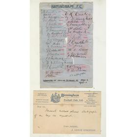 BIRMINGHAM CITY FOOTBALL CLUB AUTOGRAPHS 1930-31