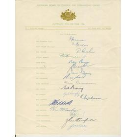 AUSTRALIA 1956 CRICKET AUTOGRAPHS