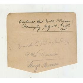 ENGLAND 1921 CRICKET AUTOGRAPHS - WOOLLEY, DUCAT & BROWN