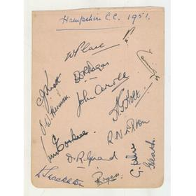 HAMPSHIRE 1951 CRICKET AUTOGRAPHS