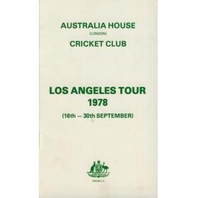 AUSTRALIA HOUSE (LONDON) CRICKET TOUR TO LOS ANGELES 1978 BROCHURE