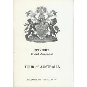 BERKSHIRE CRICKET ASSOCIATION (TOUR TO AUSTRALIA) 1986-87 CRICKET BROCHURE
