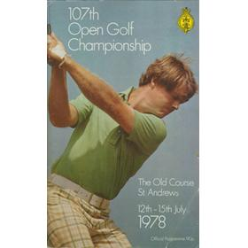 OPEN CHAMPIONSHIP 1978 (ST ANDREWS) GOLF PROGRAMME