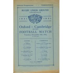 OXFORD V CAMBRIDGE 1931 RUGBY PROGRAMME