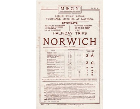 NORWICH CITY 1936 FOOTBALL RAILWAY HANDBILL