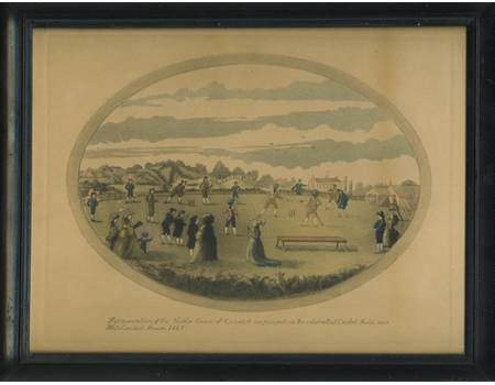 THE NOBLE GAME OF CRICKET 1787 LITHOGRAPH