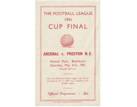 ARSENAL V PRESTON NORTH END 1941 (WARTIME CUP FINAL REPLAY) FOOTBALL PROGRAMME