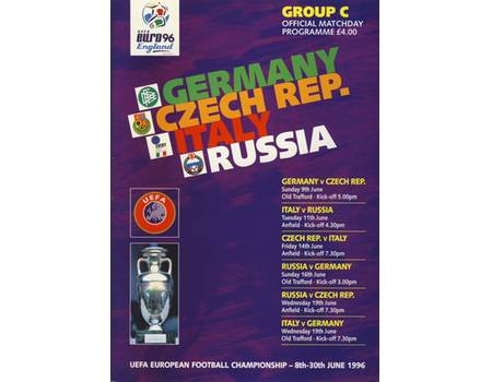 GERMANY V CZECH REPUBLIC & ITALY V RUSSIA 1996 (EURO 96 GROUP C) FOOTBALL PROGRAMME