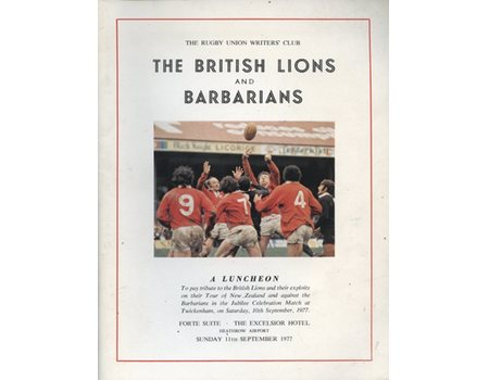 THE BRITISH LIONS AND BARBARIANS LUNCHEON 1977