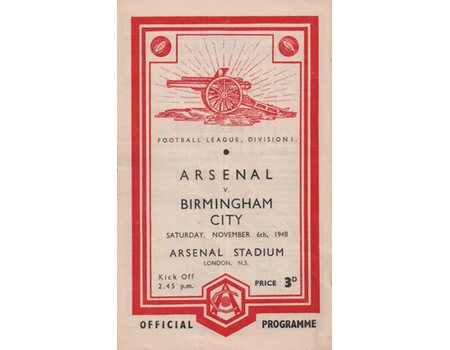 ARSENAL V BIRMINGHAM CITY 1948-49 FOOTBALL PROGRAMME