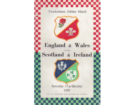 ENGLAND & WALES V SCOTLAND & IRELAND 1959 RUGBY PROGRAMME