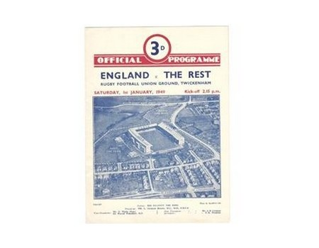 ENGLAND V THE REST 1949 RUGBY PROGRAMME