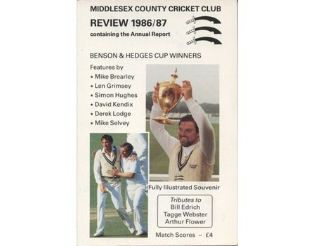 MIDDLESEX COUNTY CRICKET CLUB ANNUAL REVIEW 1986/87