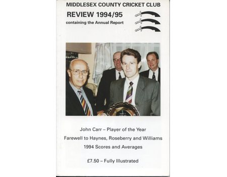 MIDDLESEX COUNTY CRICKET CLUB ANNUAL REVIEW 1994/95