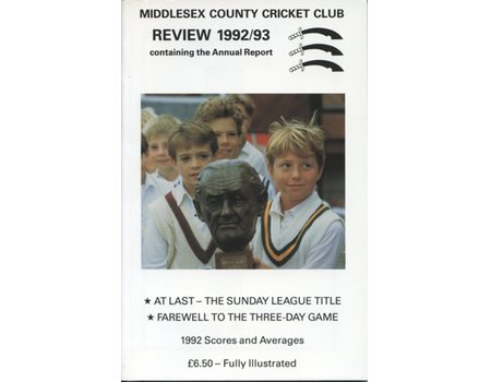 MIDDLESEX COUNTY CRICKET CLUB ANNUAL REVIEW 1992/93