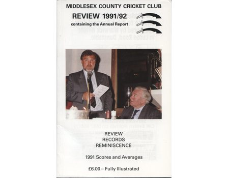 MIDDLESEX COUNTY CRICKET CLUB ANNUAL REVIEW 1991/92