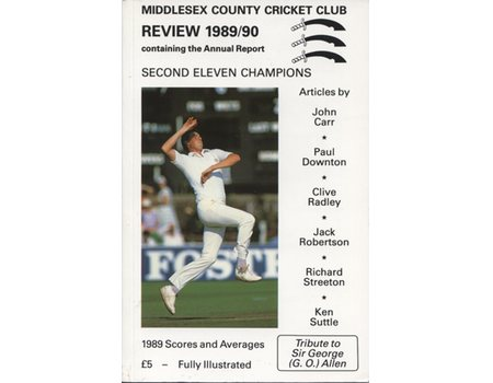 MIDDLESEX COUNTY CRICKET CLUB ANNUAL REVIEW 1989/90