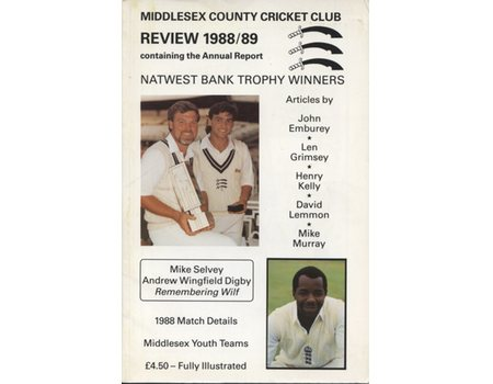 MIDDLESEX COUNTY CRICKET CLUB ANNUAL REVIEW 1988/89