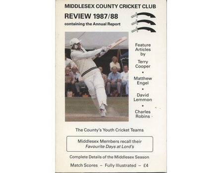 MIDDLESEX COUNTY CRICKET CLUB ANNUAL REVIEW 1987/88