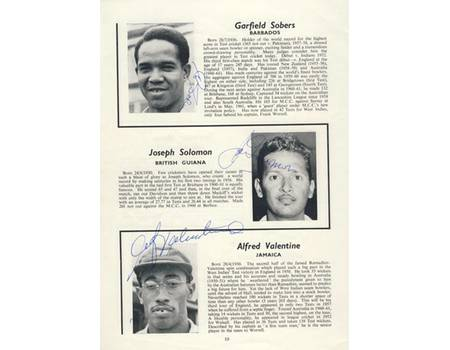 CRICKETERS FROM THE WEST INDIES. THE 1963 TOUR OFFICIAL BROCHURE