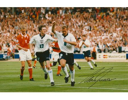 ALAN SHEARER EURO 1996 SIGNED FOOTBALL PHOTOGRAPH