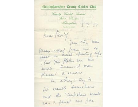 WILFRED WOOLLER TO PERCY BUSH 1953 AUTOGRAPHED RUGBY LETTER