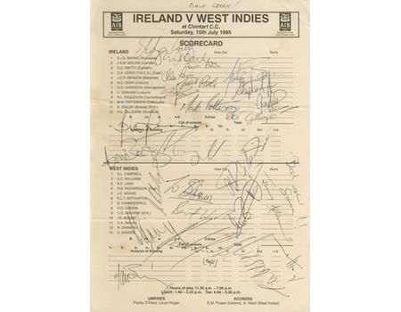 IRELAND V WEST INDIES 1995 SIGNED SCORECARD