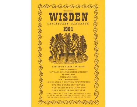 WISDEN DUST JACKET 1951