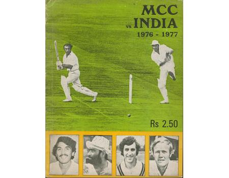 M.C.C. VS. INDIA 1976-77 CRICKET TOUR BROCHURE