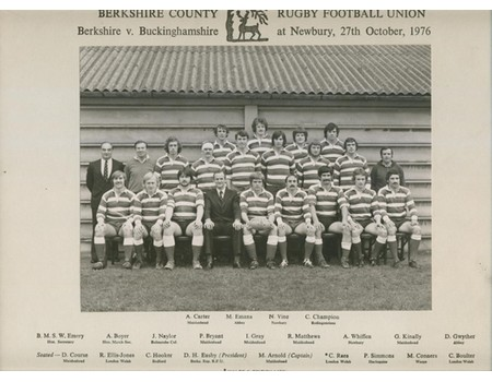 BERKSHIRE COUNTY RFU 1976 TEAM PHOTOGRAPH