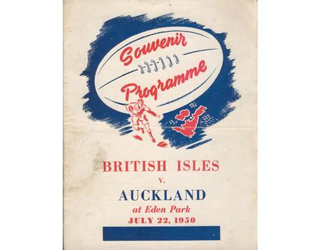 AUCKLAND V BRITISH ISLES 1950 RUGBY PROGRAMME
